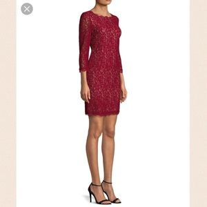Adrienna Pappell lace overlay sheath dress
